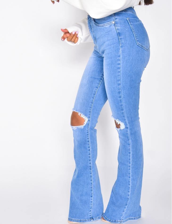 Jeans taille haute destroy à patte d'eph