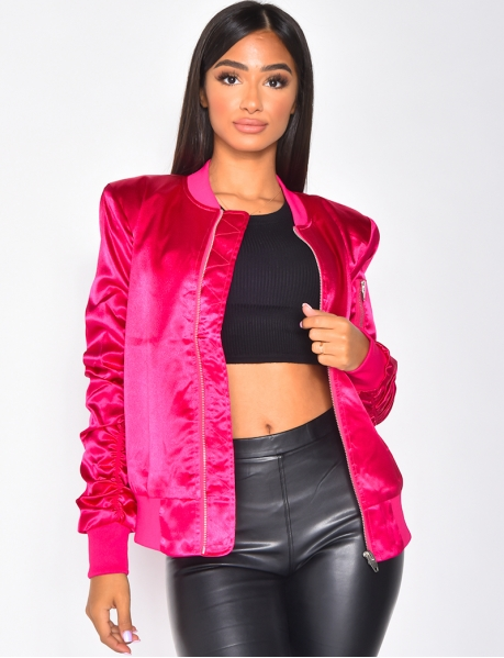 Jacket with Zip and Shoulder Pads