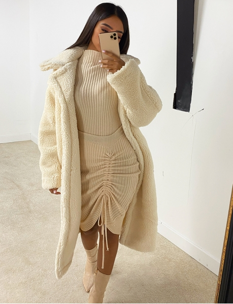 Long Oversized Sheepskin Look Coat