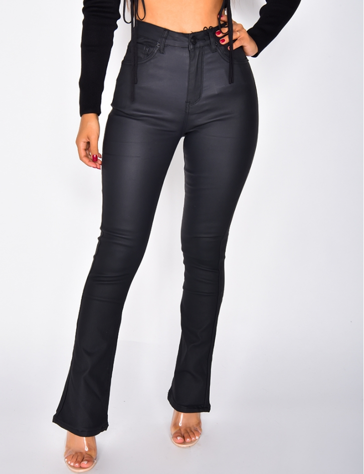 Pantalon en simili taille haute à patte d'eph