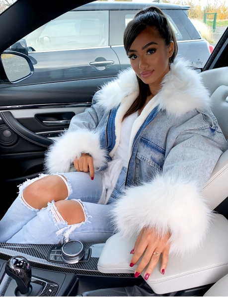 Denim Jacket with Fur