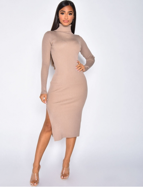 Long Ribbed Polo Neck Jumper Dress