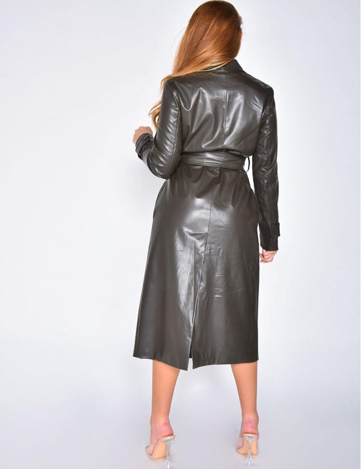 Manteau en simili à nouer