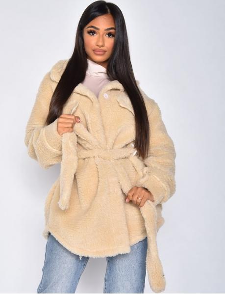 Manteau à nouer effet mouton