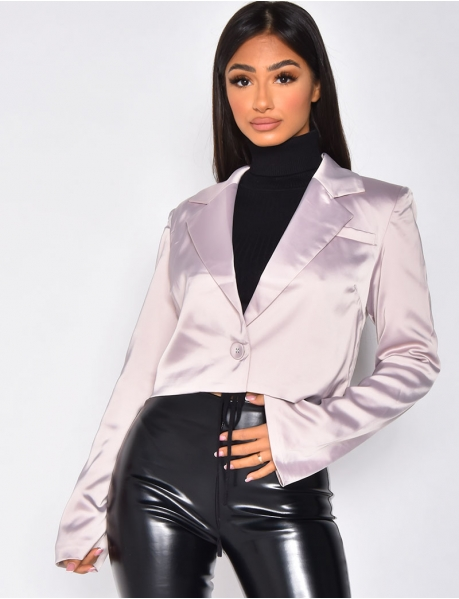 Short Satin Blazer