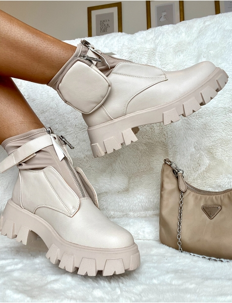 Zipped Ankle Boots with Pouch