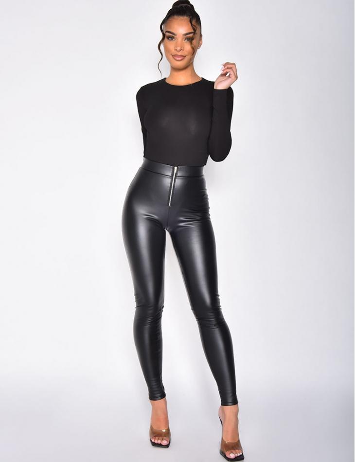 Pantalon en simili à zip