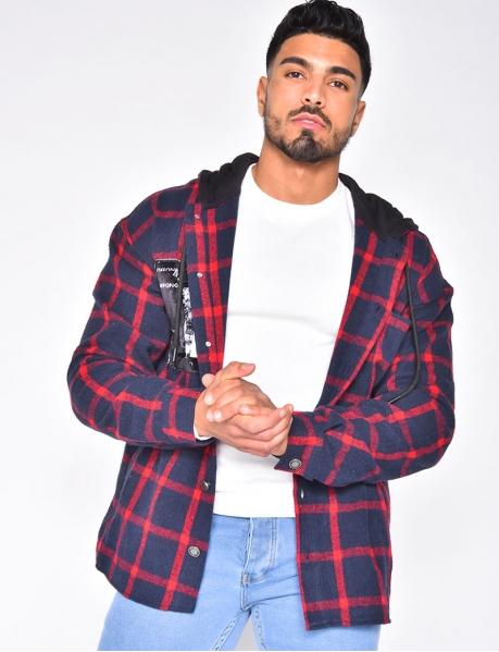 Chemise à capuche et carreaux
