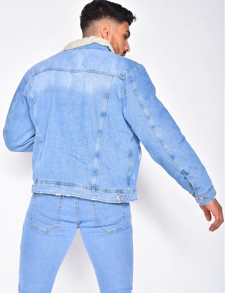 Veste en jeans destroy fourrée