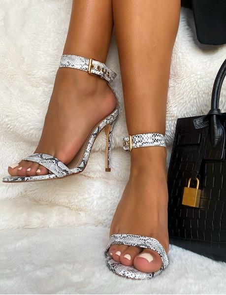 Sandales à talon effet serpent