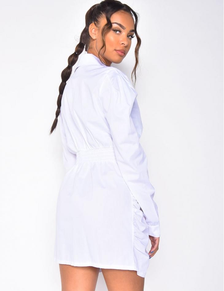 Robe chemise froncée