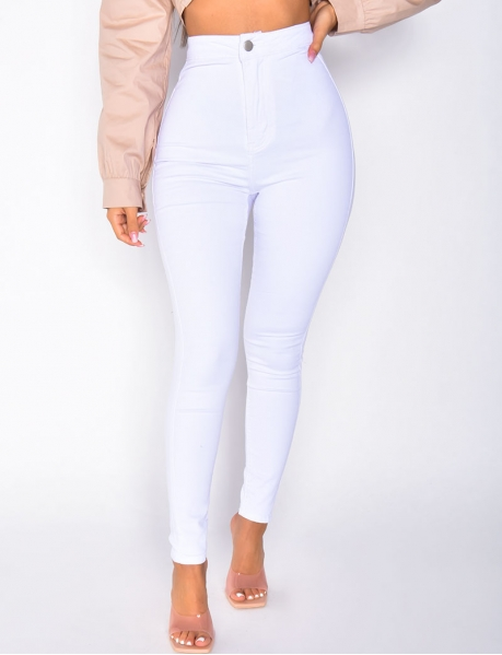 Basic-Jeggings mit hoher Taille, weiß