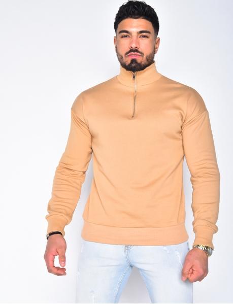 Pullover mit Stehkragen und Reißverschluss
