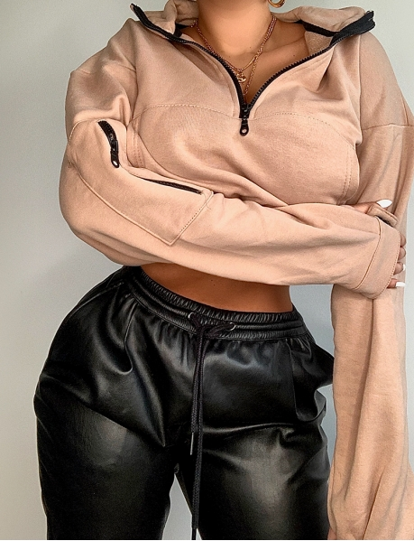 Sweat cropped à zip