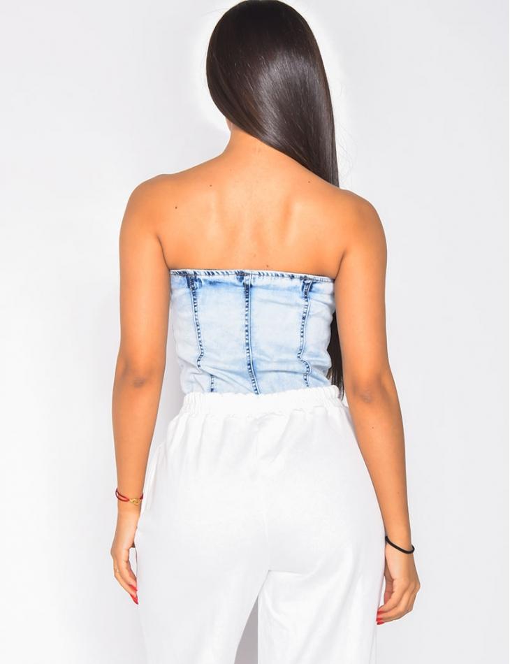 Body en jeans effet corset