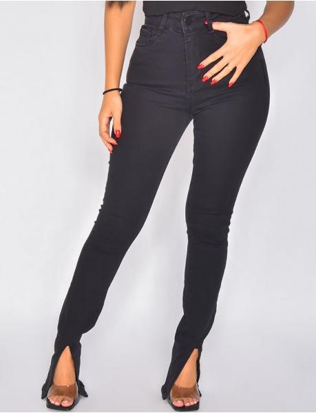 Jeans taille haute fendu