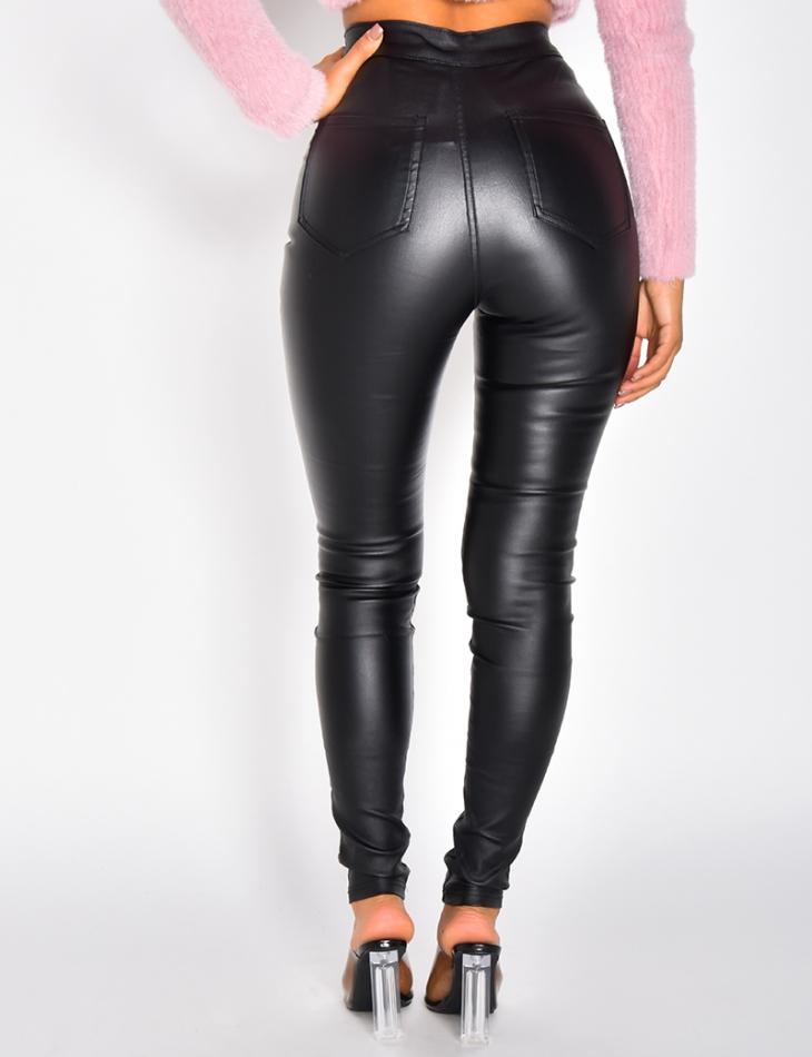 Pantalon taille haute huilé