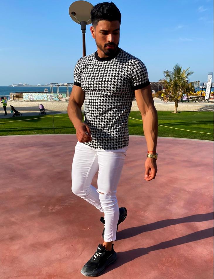 Tee-shirt motif pied de poule