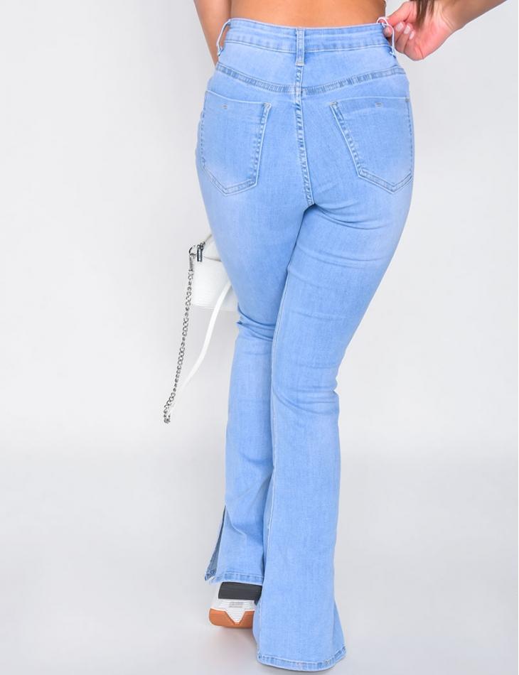Jeans patte d'eph à fentes