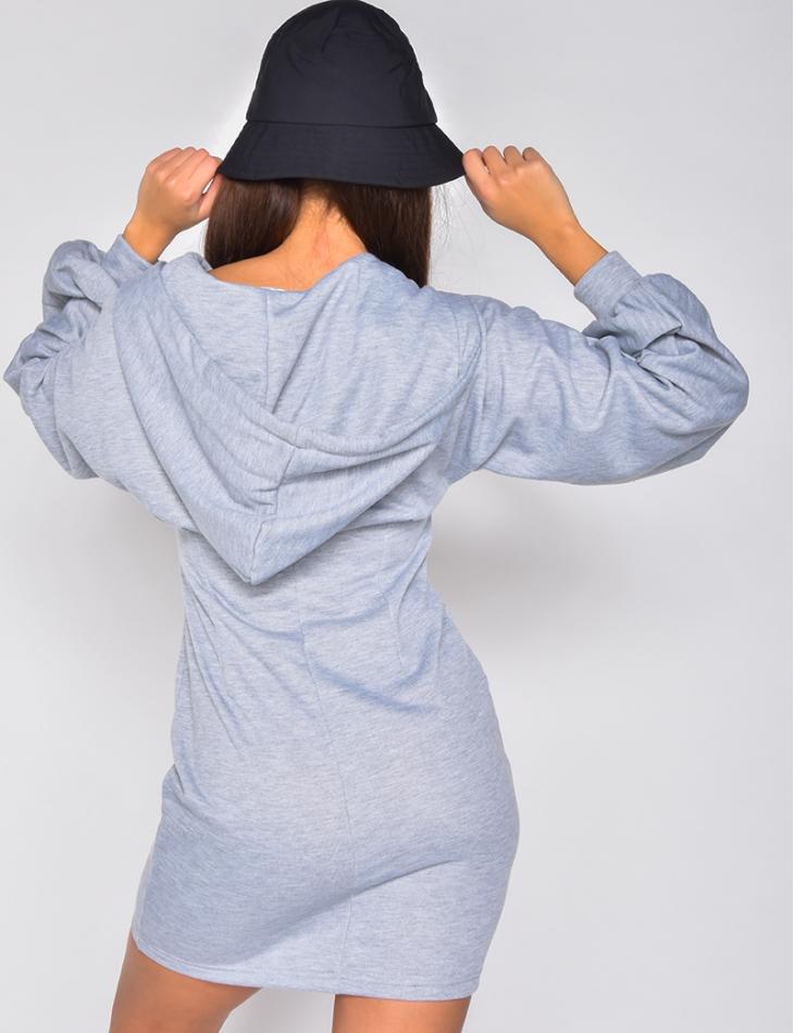 Robe pull à capuche avec zip