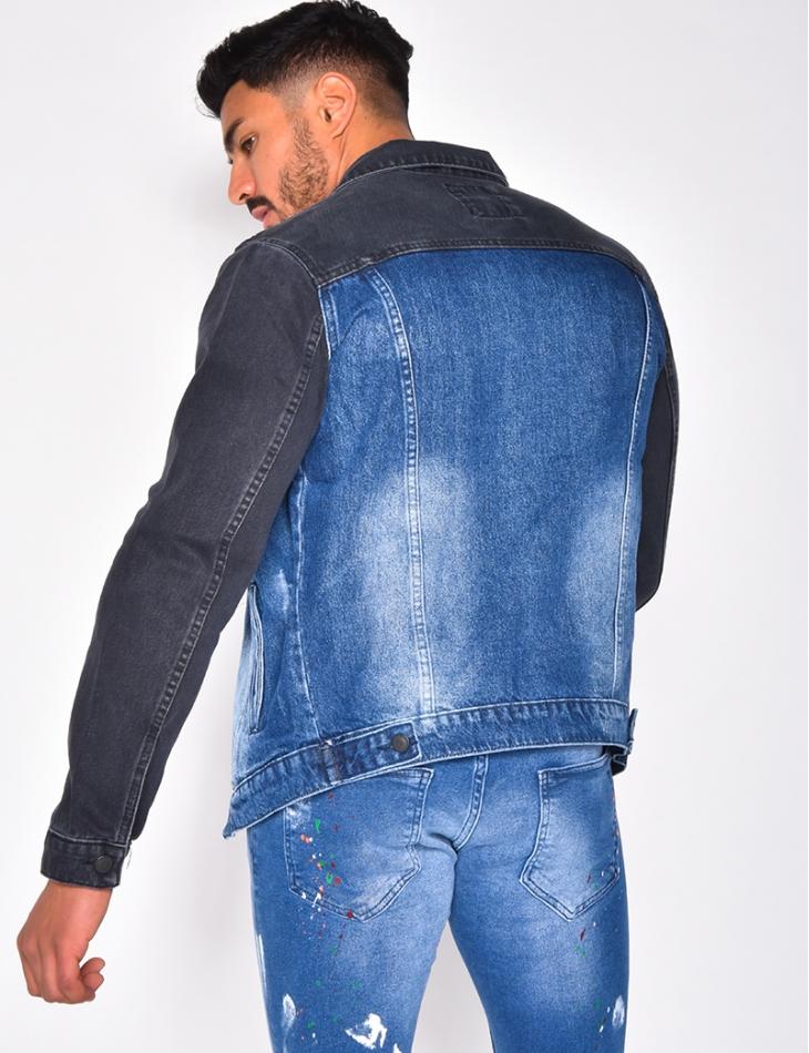 Veste en jeans bicolore destroy