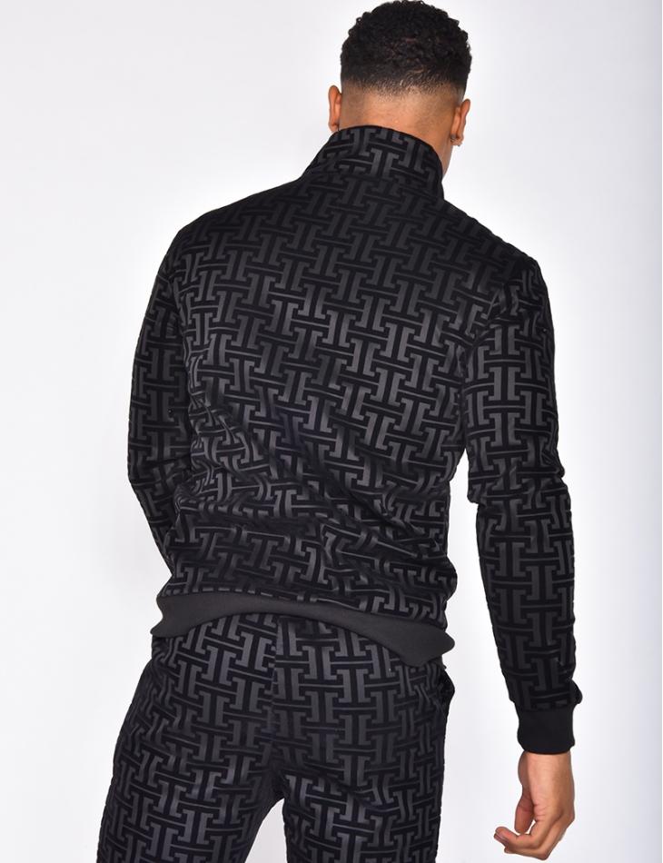 Veste bi-matière à motifs géométrique
