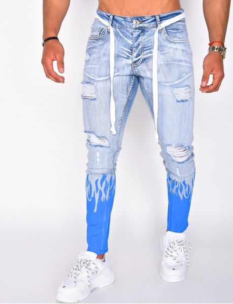 Jeans destroy à motifs flammes