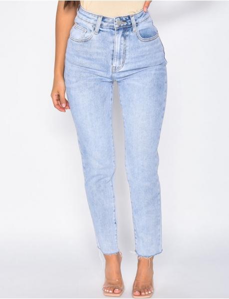 Jeans High Waist, gerader Schnitt