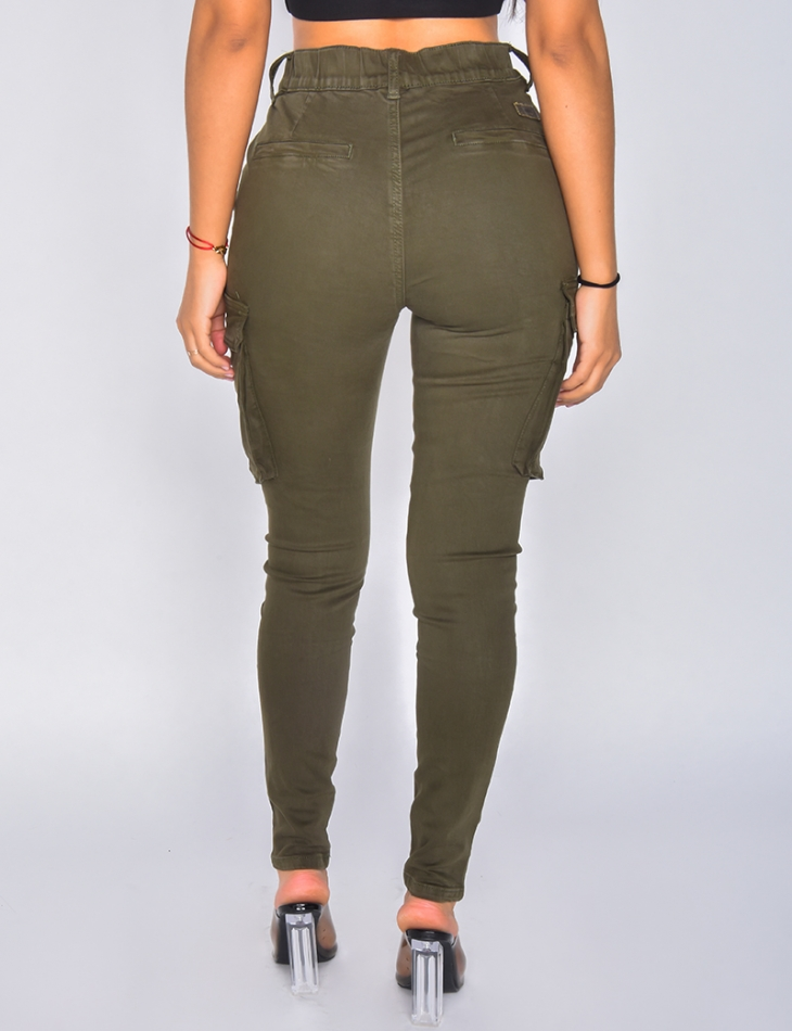 Jeans cargo taille haute