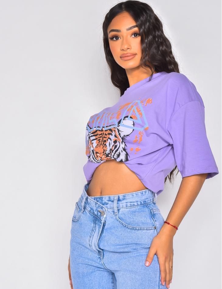 T-shirt oversize  tête de tigre