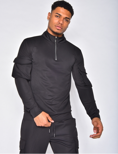 Zip and pocket sweatshirt