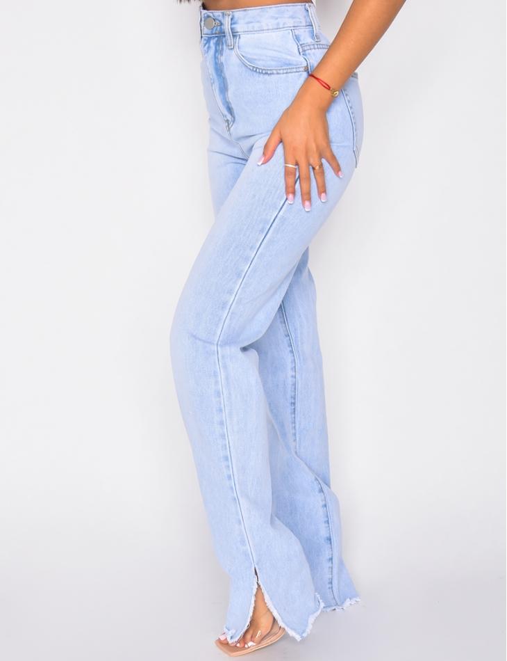 Jeans à fentes coupe droite