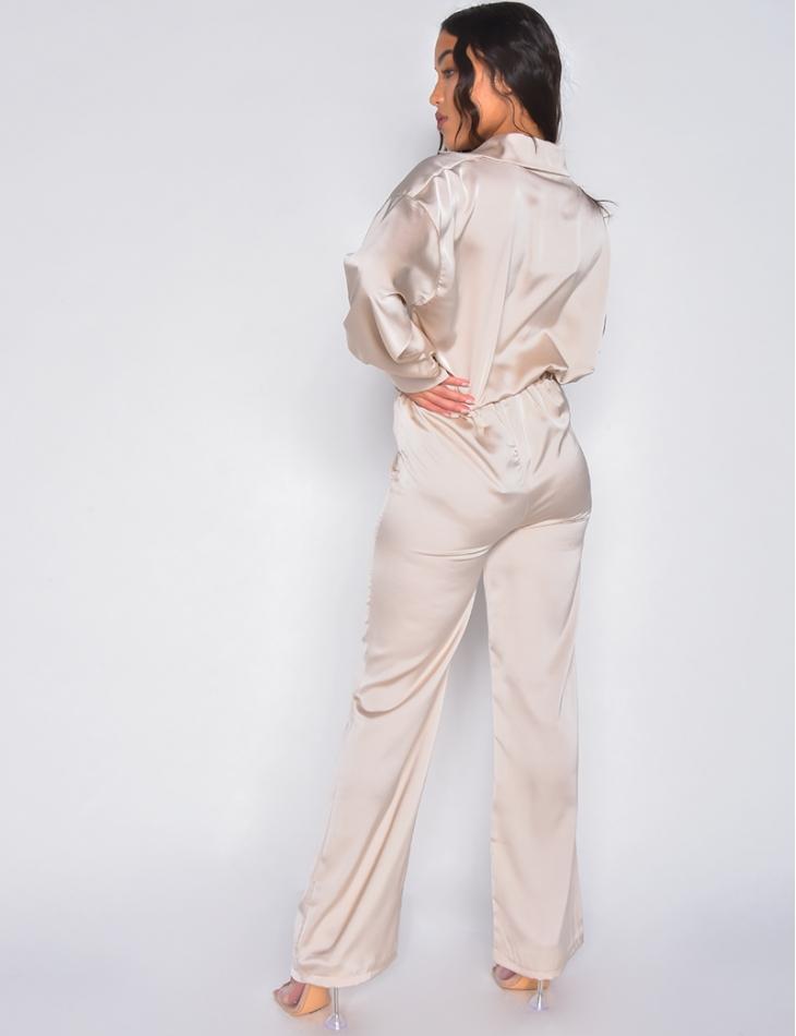 Ensemble Pantalon et chemise en satin