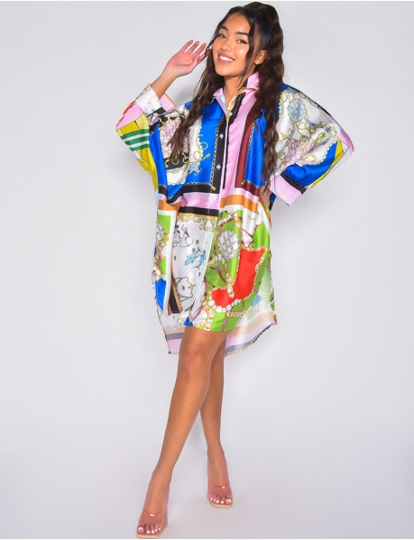 Oversized shirt dress with baroque pattern