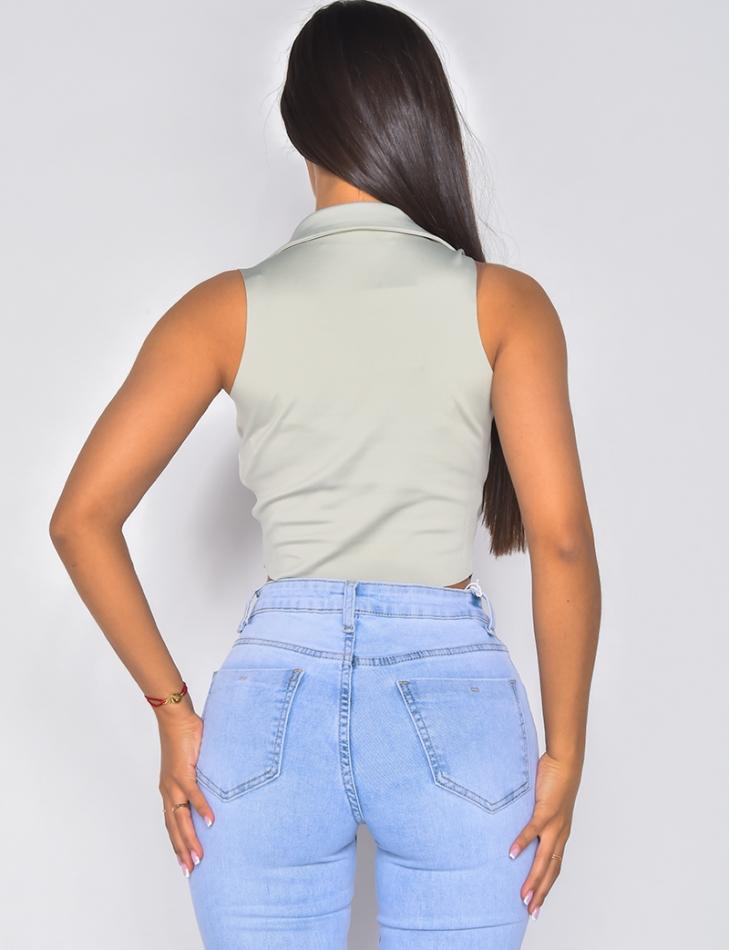 Crop top sans manches à col chemise