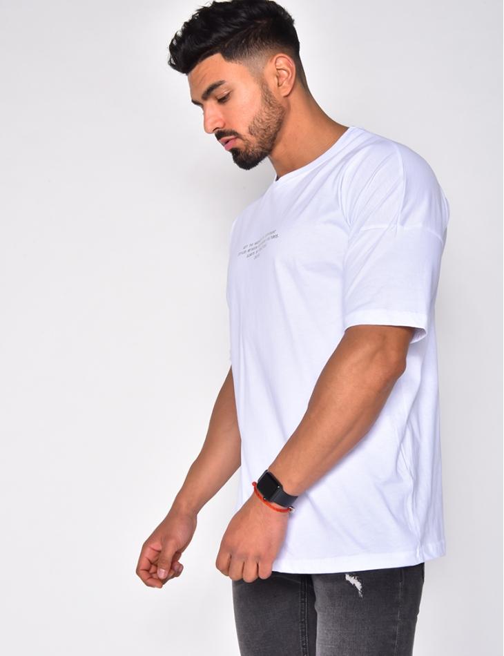 T-shirt à écriture argenté