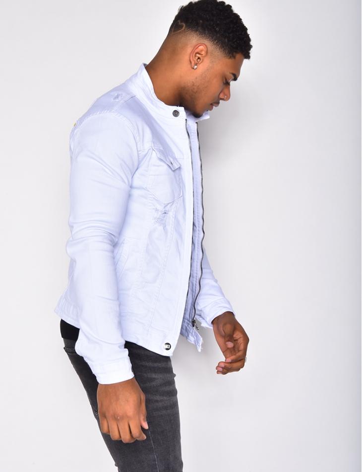 Veste en jeans destroy motif au dos