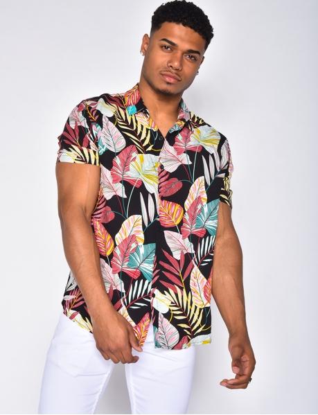 Chemise à motifs tropicaux