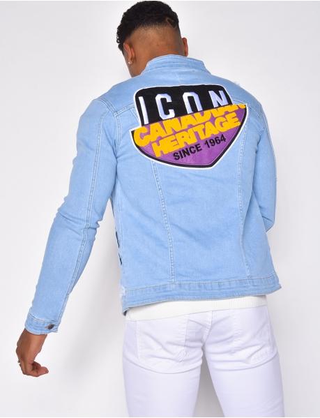 Destroyed-Jeansjacke mit Muster auf der Rückseite