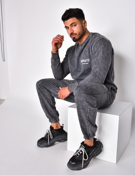 Heathered Sweatshirt and Jogging Bottoms Set