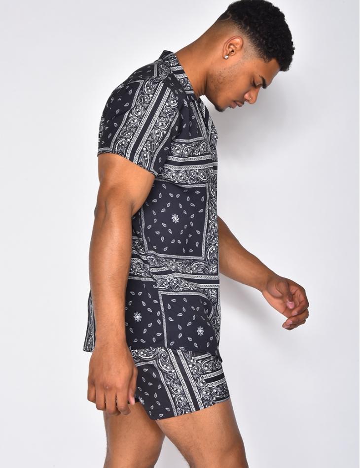 Ensemble chemise et short de bain à motifs bandana