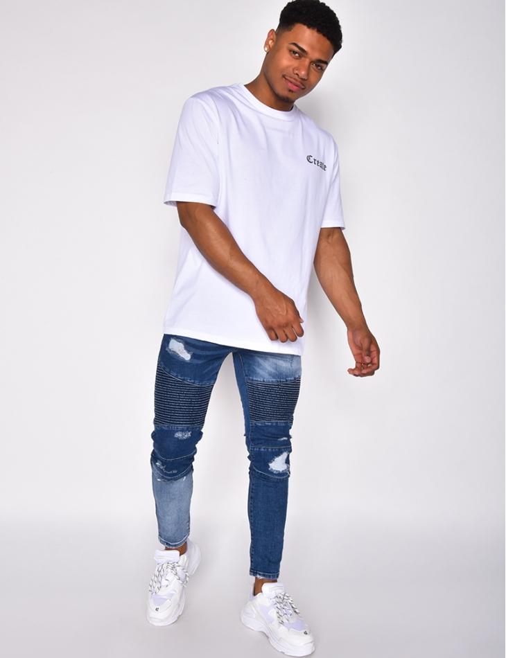 Jeans motard destroy