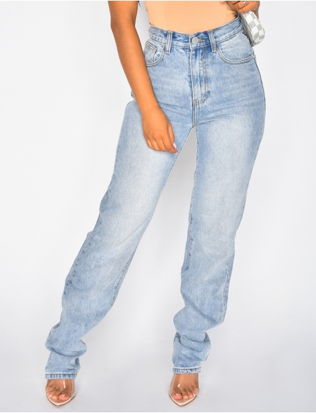 Jeans taille haute coupe droite