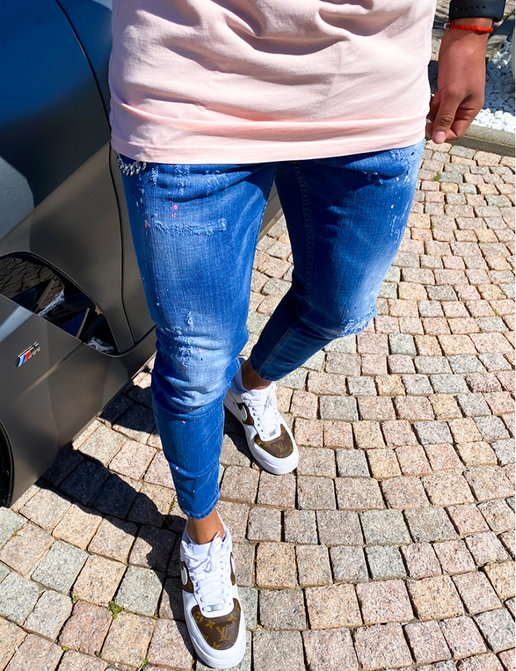 Jeans destroy chaîne et fermeture éclair