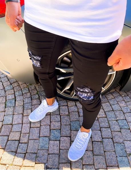 Jeans destroy patch motif bandana