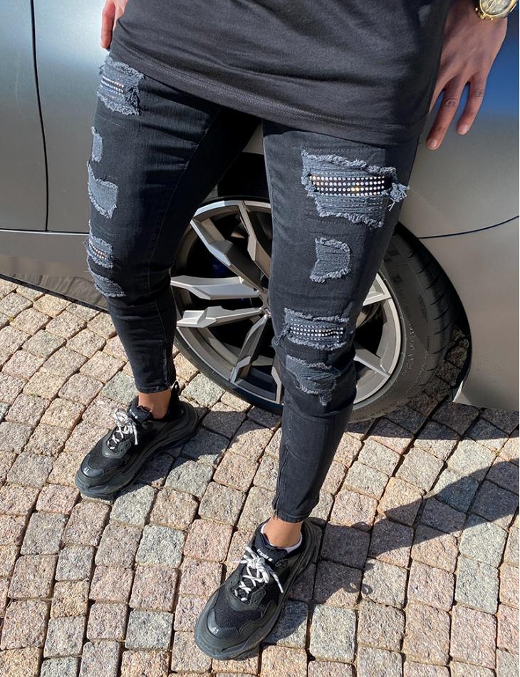 Jeans destroy et strass