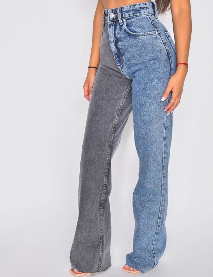 Jeans bi-color coupe droite