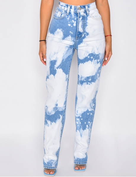 High-waisted jeans with flecks