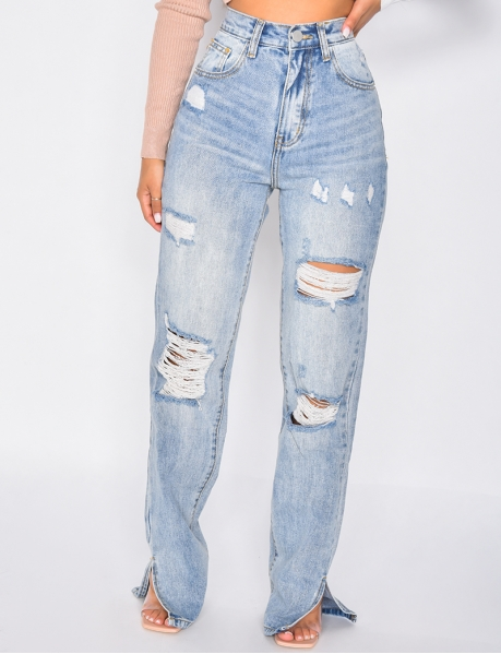 Ripped straight leg jeans