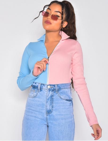 Bi-colour ribbed sweater